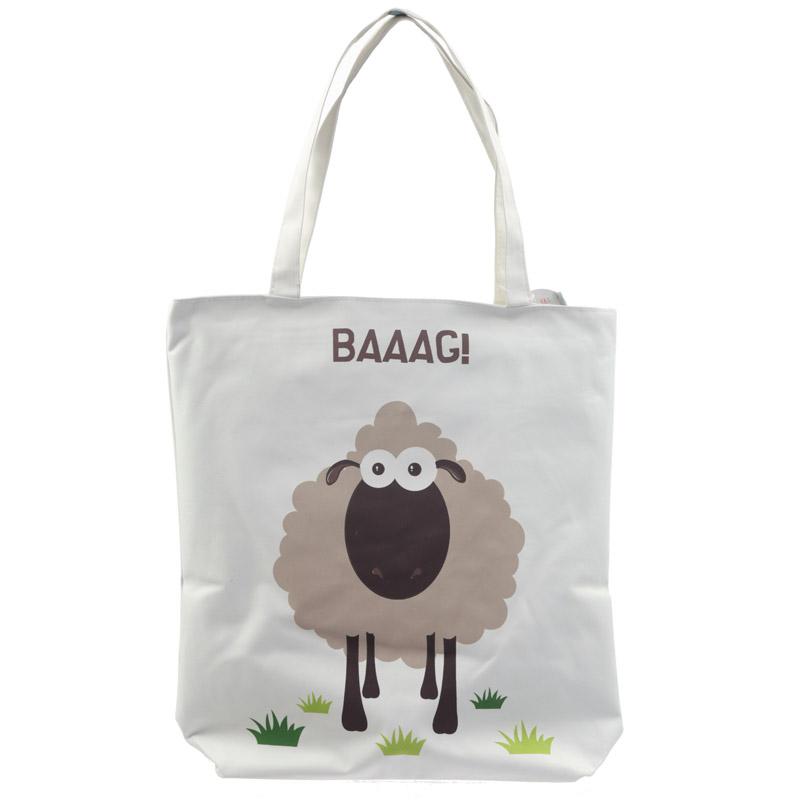 Handy Cotton Zip Up Shopping Bag Sheep Design