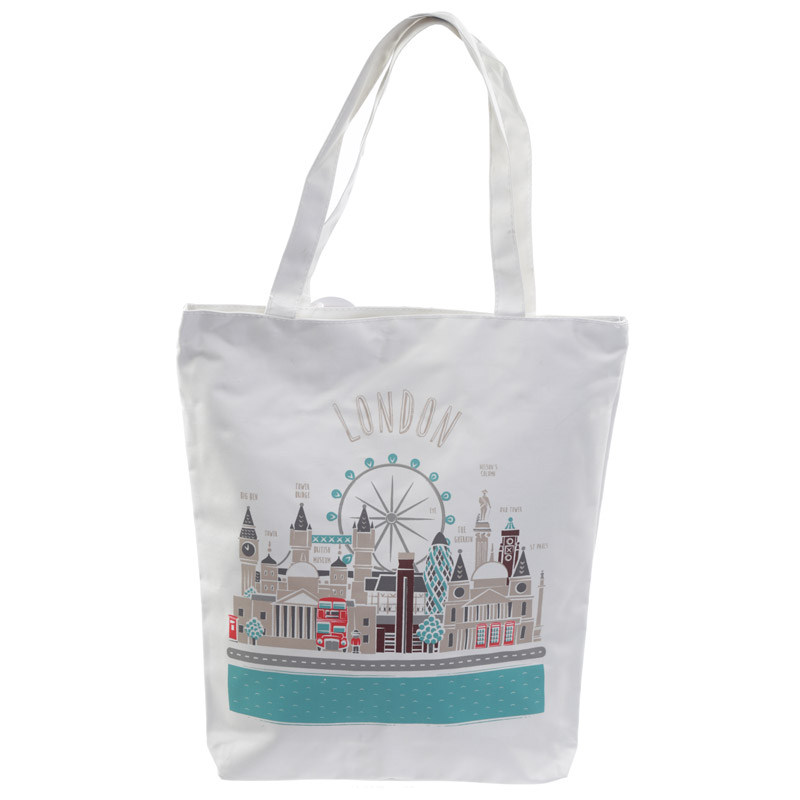 Handy Cotton Zip Up Shopping Bag London Icons