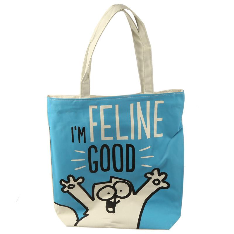 Handy Cotton Zip Up Shopping Bag Simons Cat Im Feline Fine