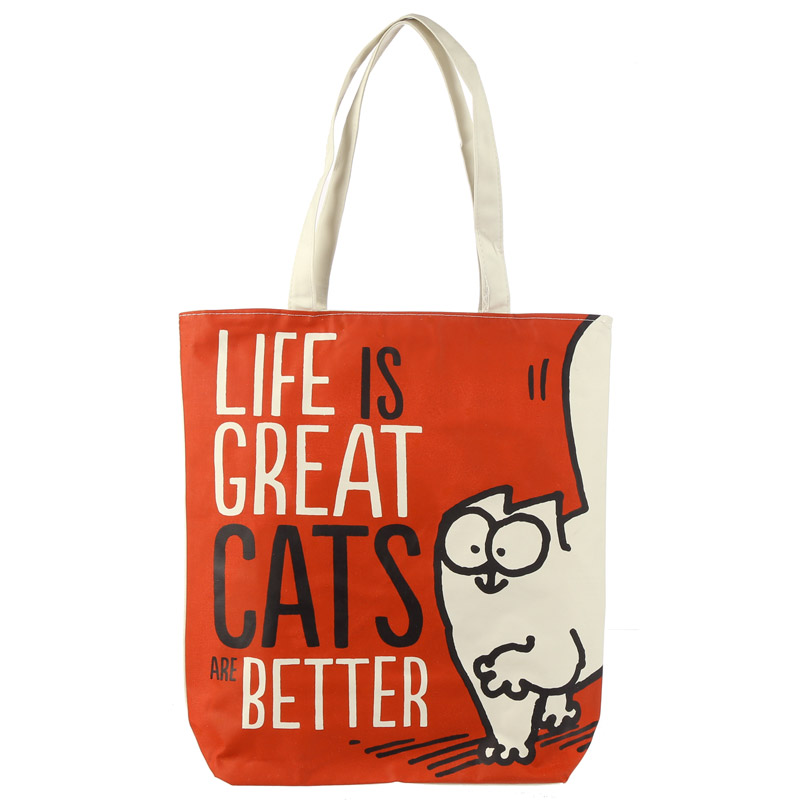 Handy Cotton Zip Up Shopping Bag Simons Cat Life is Great
