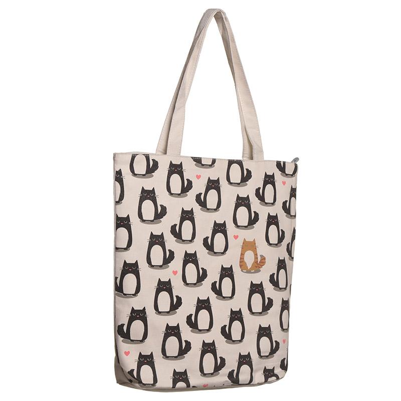 Handy Zip Up Shopping Bag Cat Design