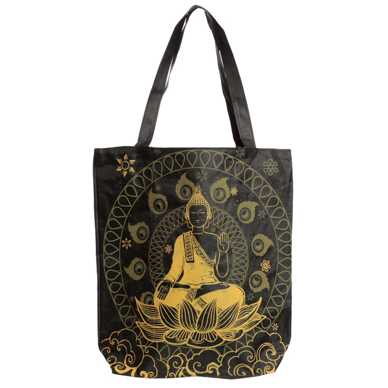 Handy Cotton Zip Up Shopping Bag Thai Buddha
