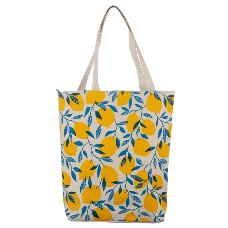 Handy Cotton Zip Up Shopping Bag Lemons