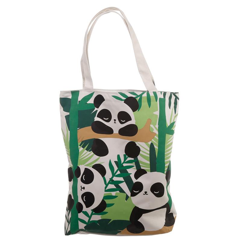 Handy Cotton Zip Up Shopping Bag Pandarama Design