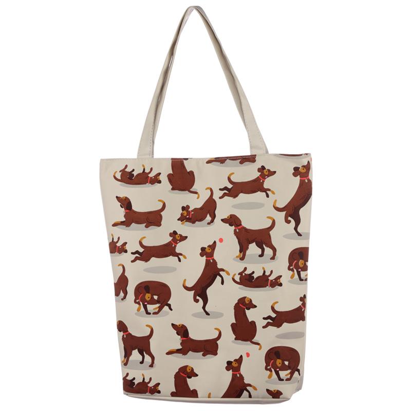 Handy Cotton Zip Up Shopping Bag Catch Patch Dog Design