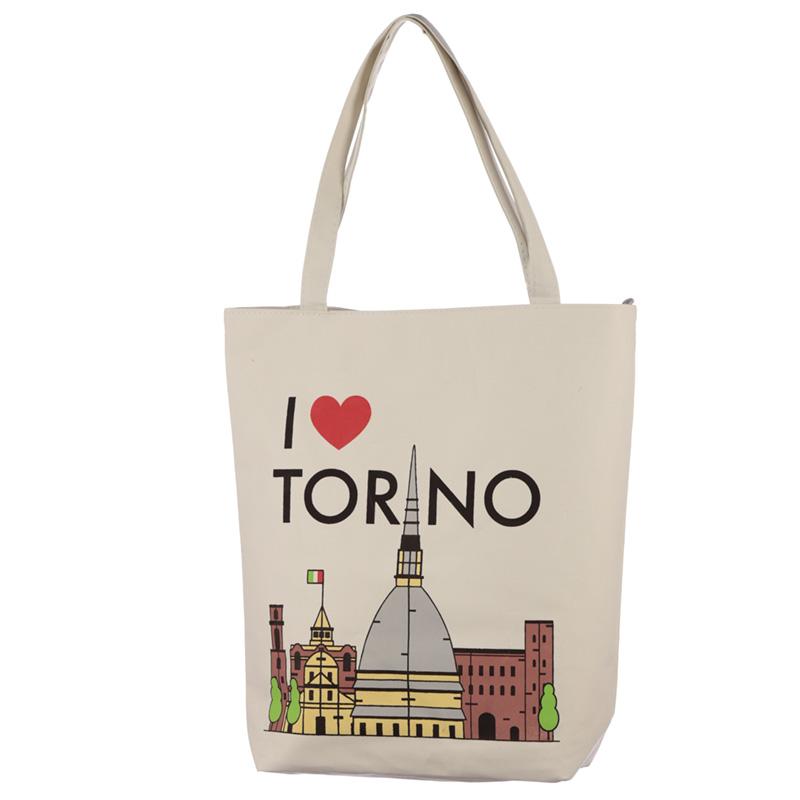 Handy Cotton Zip Up Shopping Bag I Heart Torino