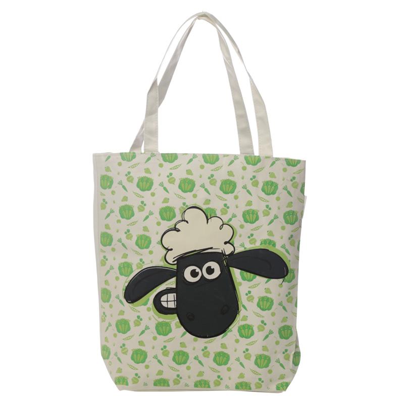 Handy Cotton Zip Up Shopping Bag Shaun the Sheep Pattern