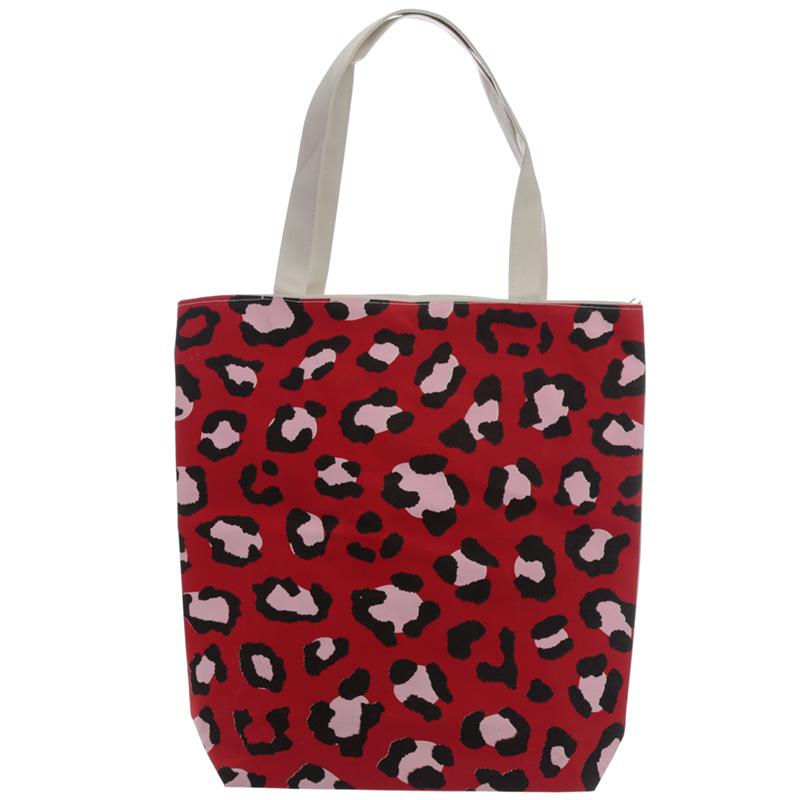 Handy Cotton Zip Up Shopping Bag Animal Print Wild Life