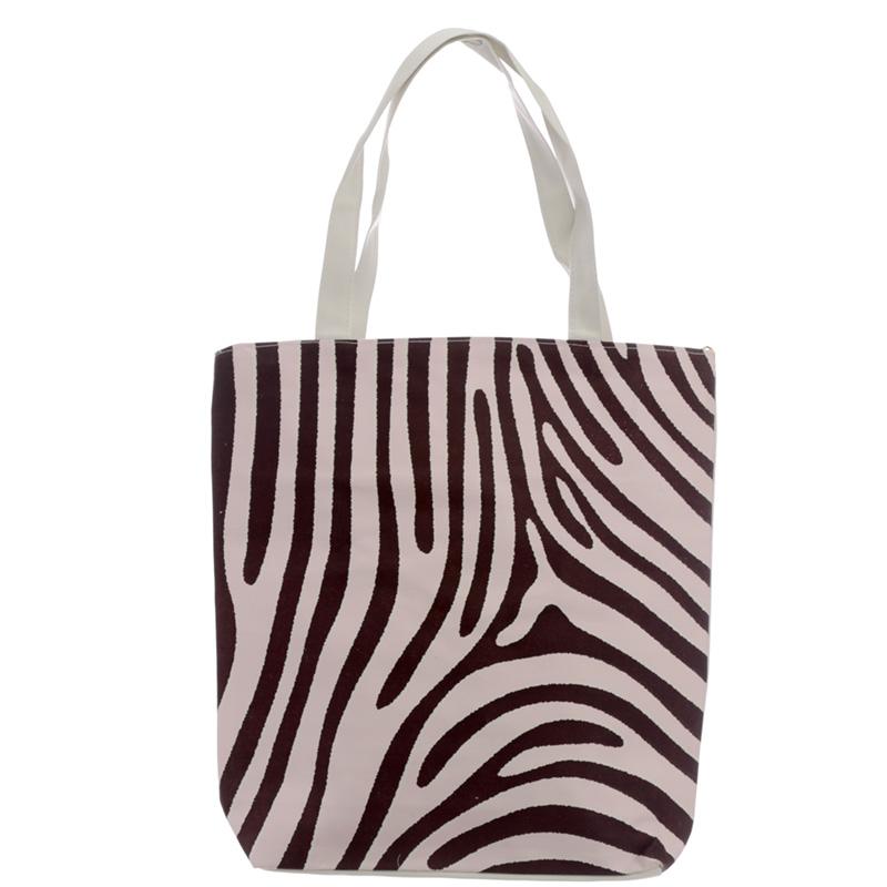 Handy Cotton Zip Up Shopping Bag Zebra Print Wild Life