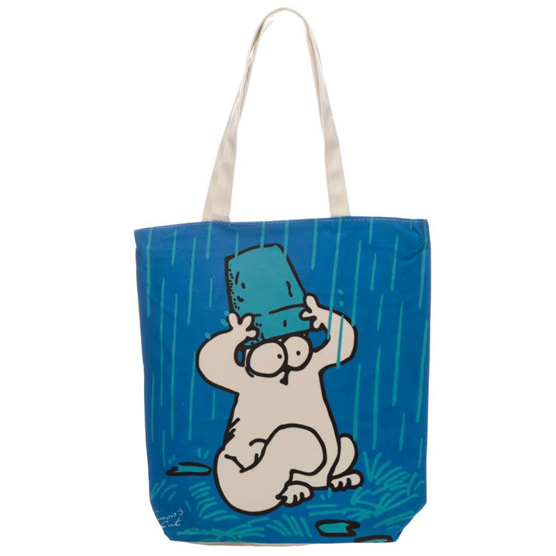 Handy Cotton Zip Up Shopping Bag New Blue Simons Cat