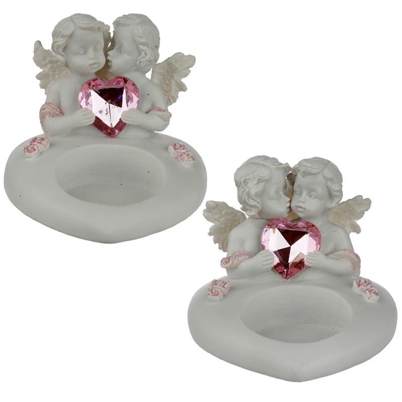 Collectable Peace of Heaven Cherub Sweetheart Kisses Tea Light Candle Holder