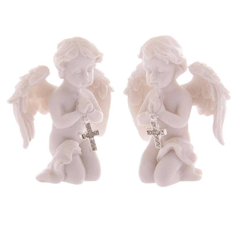 Cute Praying Cherub Figurine Holding Jewelled Silver Cross