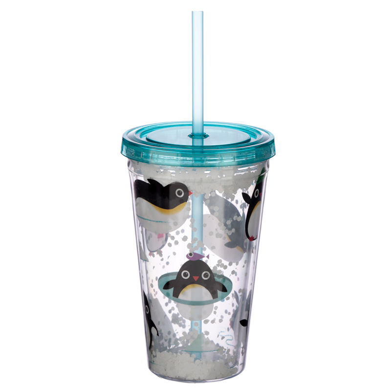 Cute Penguins Double Walled Cup with Lid and Straw