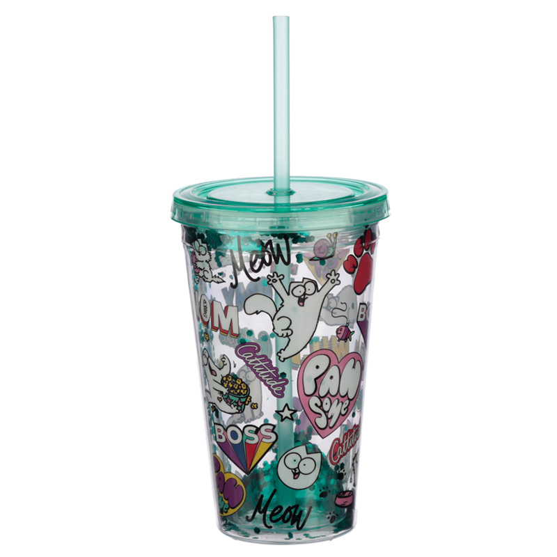 Simons Cat Pawsome Design Double Walled Cup with Lid and Straw