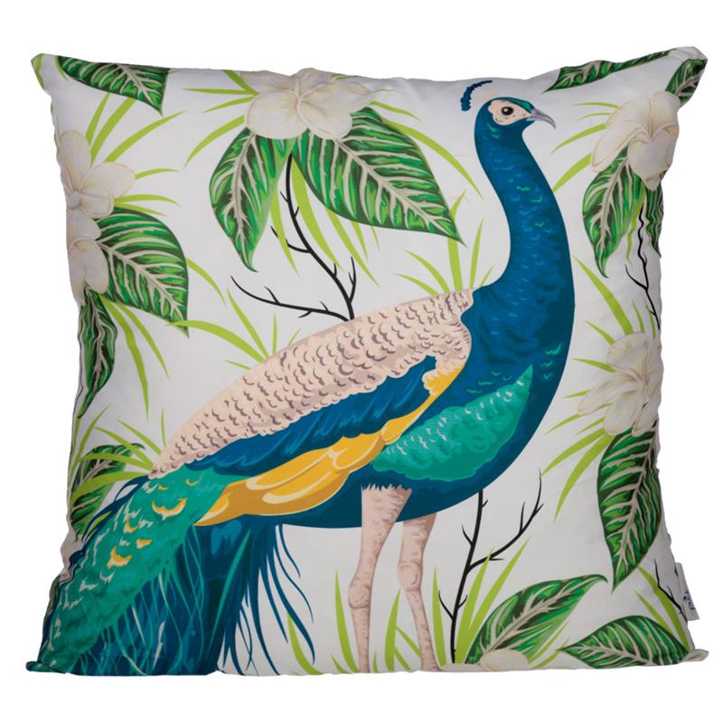 Cushion with Insert Peacock Design 50 x 50cm