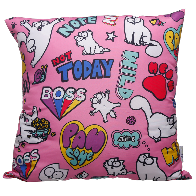 Pink Simons Cat Pawsome Cushion with Insert 50 x 50cm