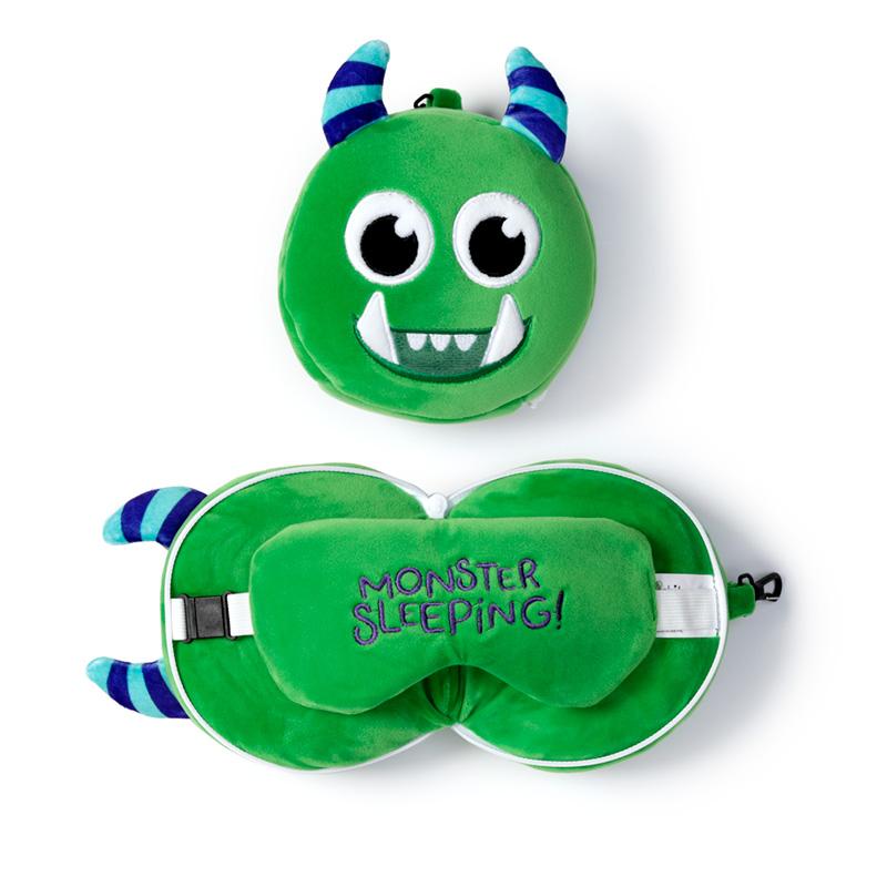 Monstarz Monster Green Relaxeazzz Plush Round Travel Pillow  Eye Mask Set