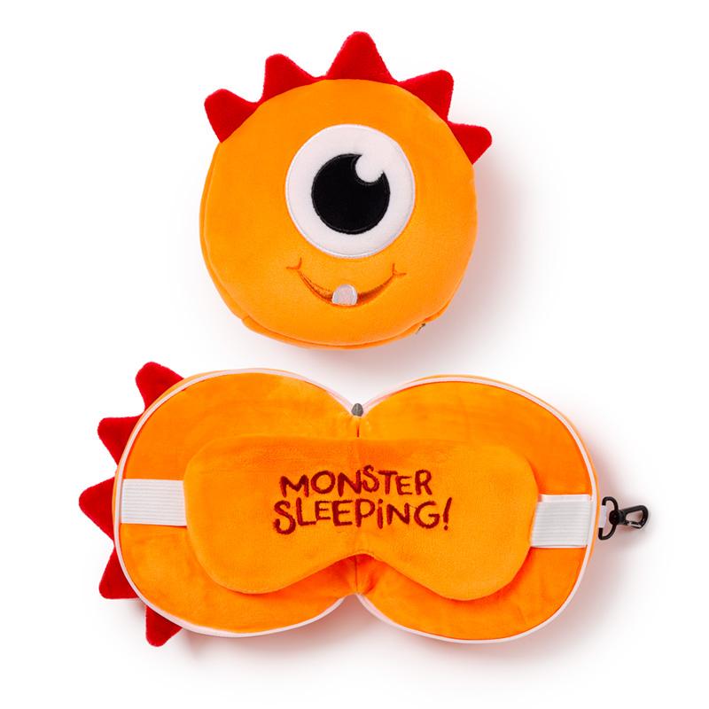 Monstarz Monster Orange Relaxeazzz Plush Round Travel Pillow  Eye Mask Set