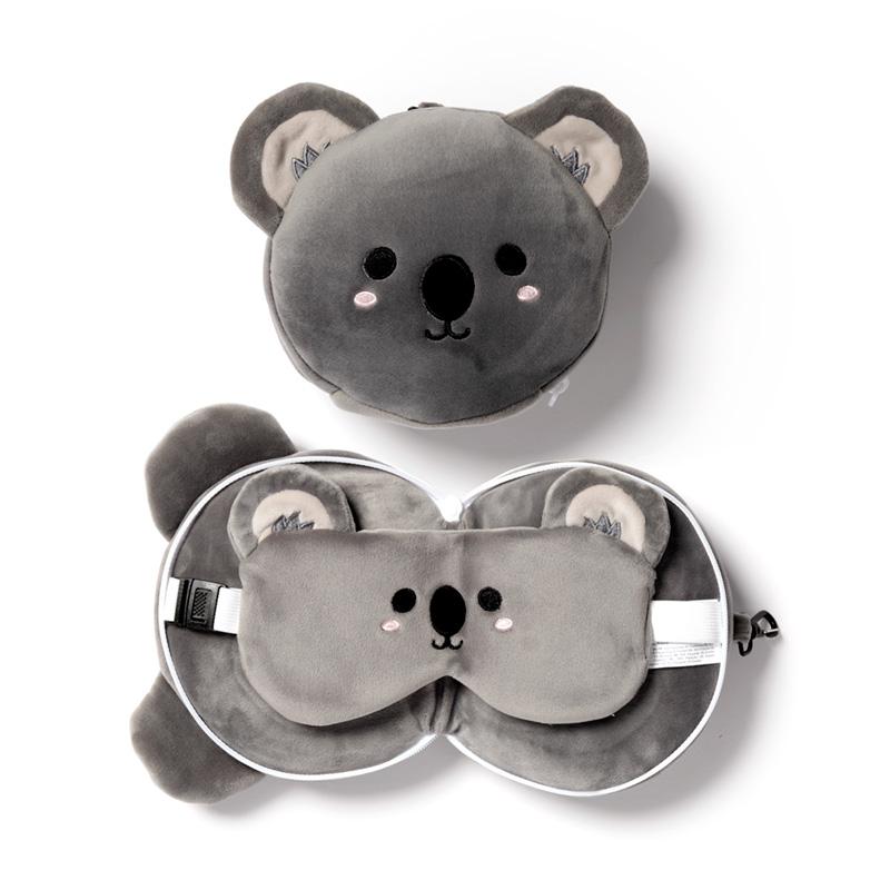 Cutiemals Koala Relaxeazzz Plush Round Travel Pillow  Eye Mask Set
