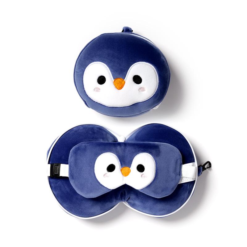 Cutiemals Penguin Relaxeazzz Plush Round Travel Pillow  Eye Mask Set