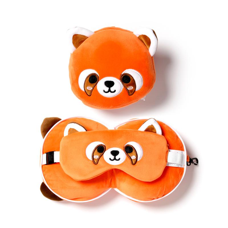 Cutiemals Red Panda Relaxeazzz Plush Round Travel Pillow  Eye Mask Set