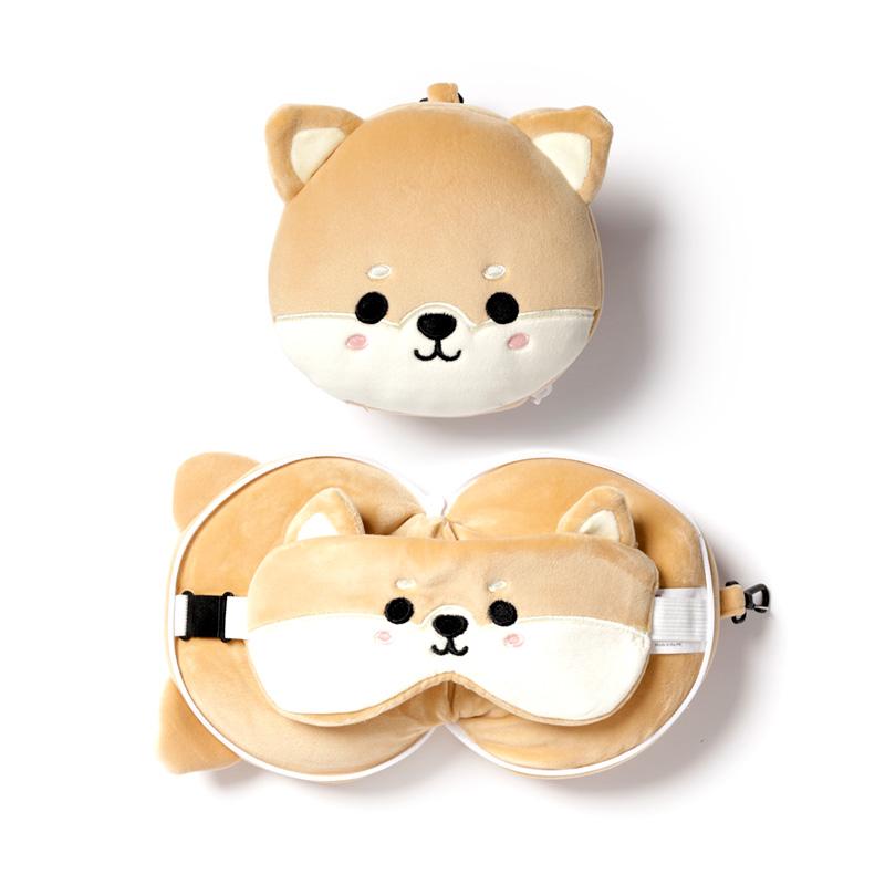 Shiba Inu Dog Relaxeazzz Plush Round Travel Pillow  Eye Mask Set