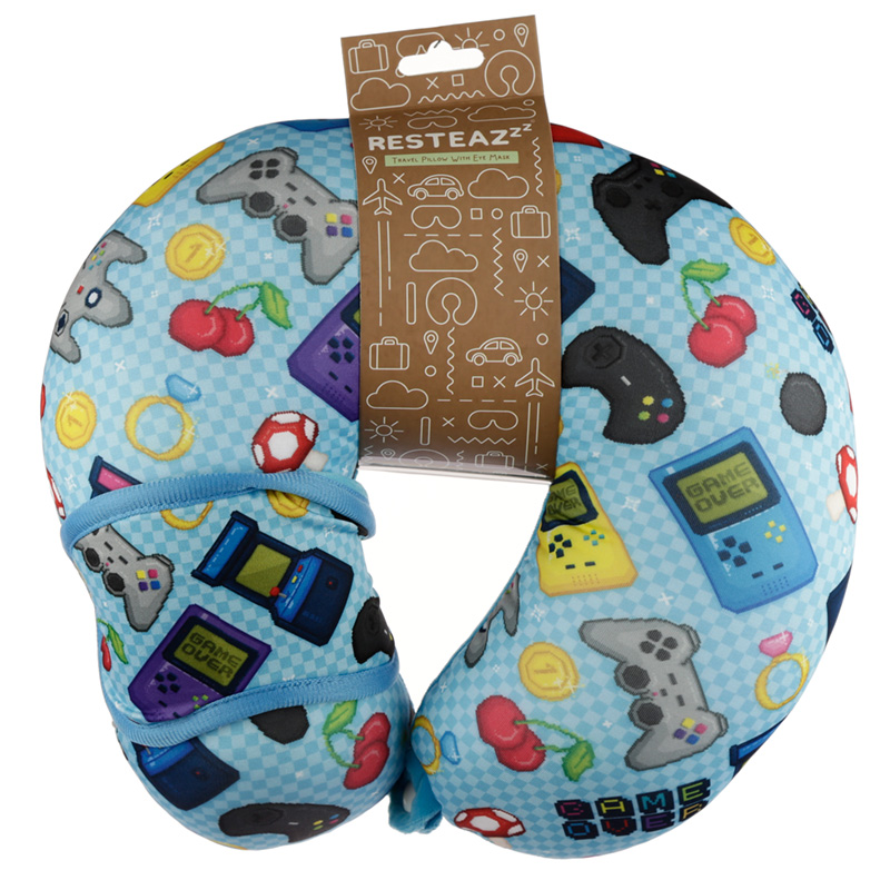 Retro Gaming Game Over Relaxeazzz Travel Pillow  Eye Mask Set