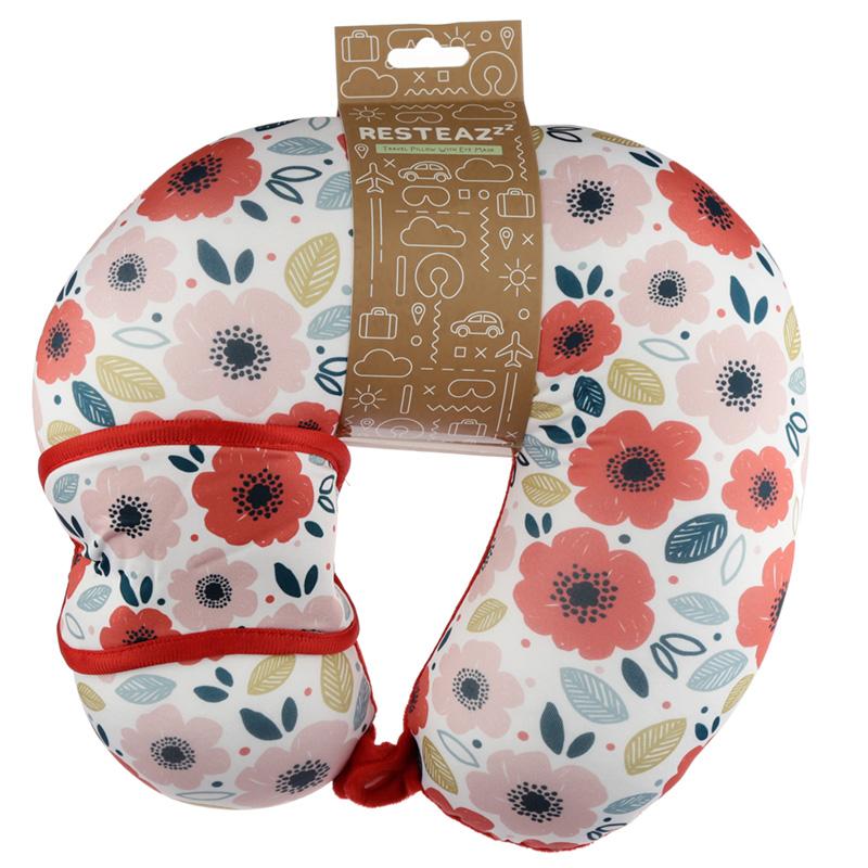 Poppy Fields Relaxeazzz Travel Pillow  Eye Mask Set