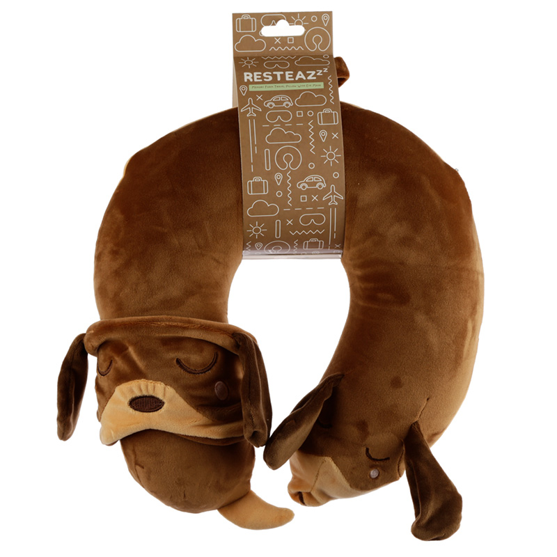 Dachshund Dog Relaxeazzz Plush Memory Foam Travel Pillow  Eye Mask Set