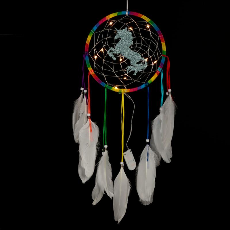 Decorative LED Rainbow Unicorn Dreamcatcher