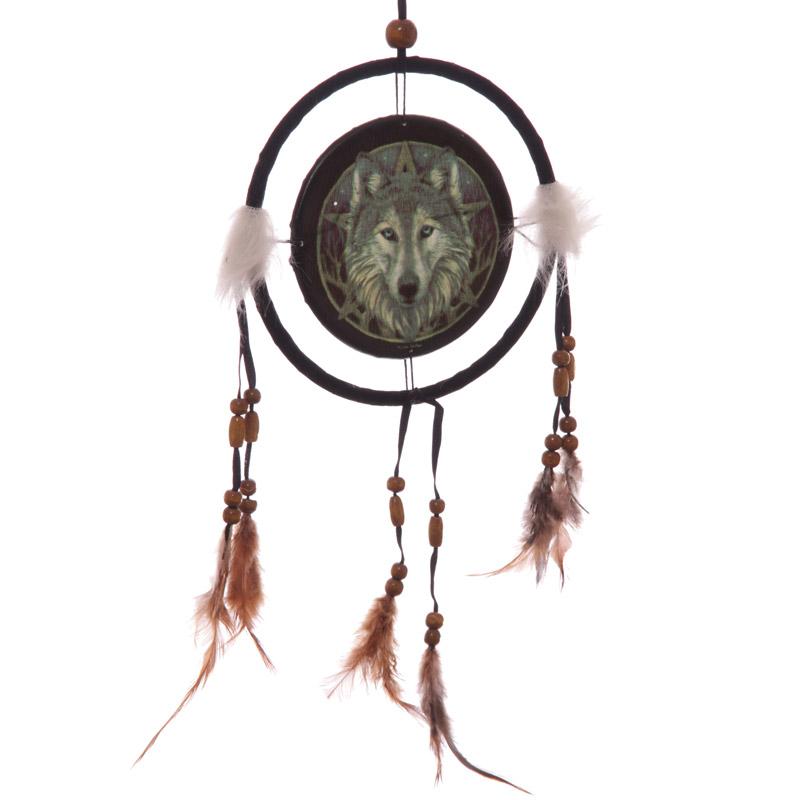 Decorative Celtic Wolf Head 16cm Dreamcatcher