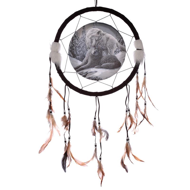 Decorative Wolf Snow Kisses 33cm Dreamcatcher