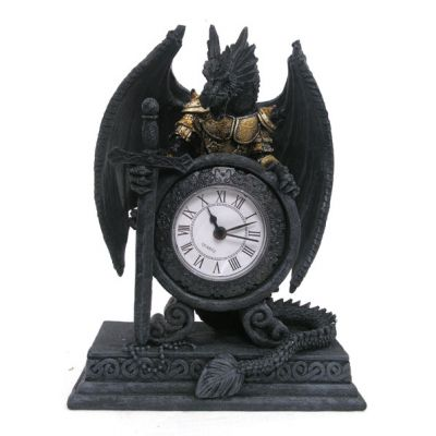 Gothic Armoured Dragon Mantle Clock