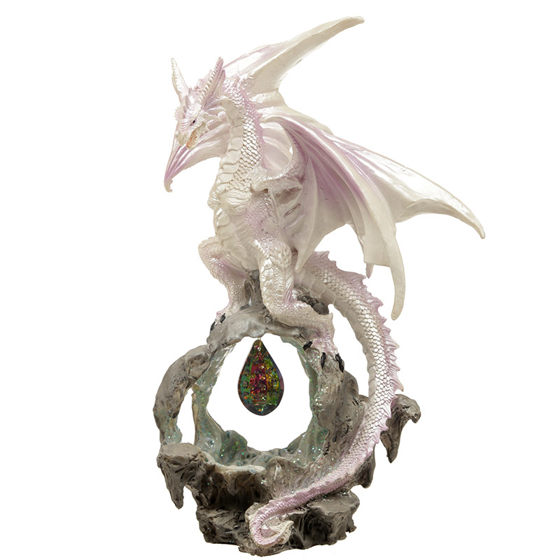 Dream Crystal Fantasy Winter Warrior Dragon Figurine