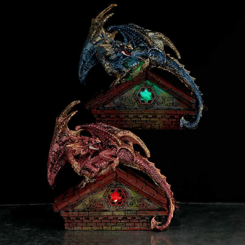 Stained Glass Window Roof Top LED Dark Legends Dragon Figurine