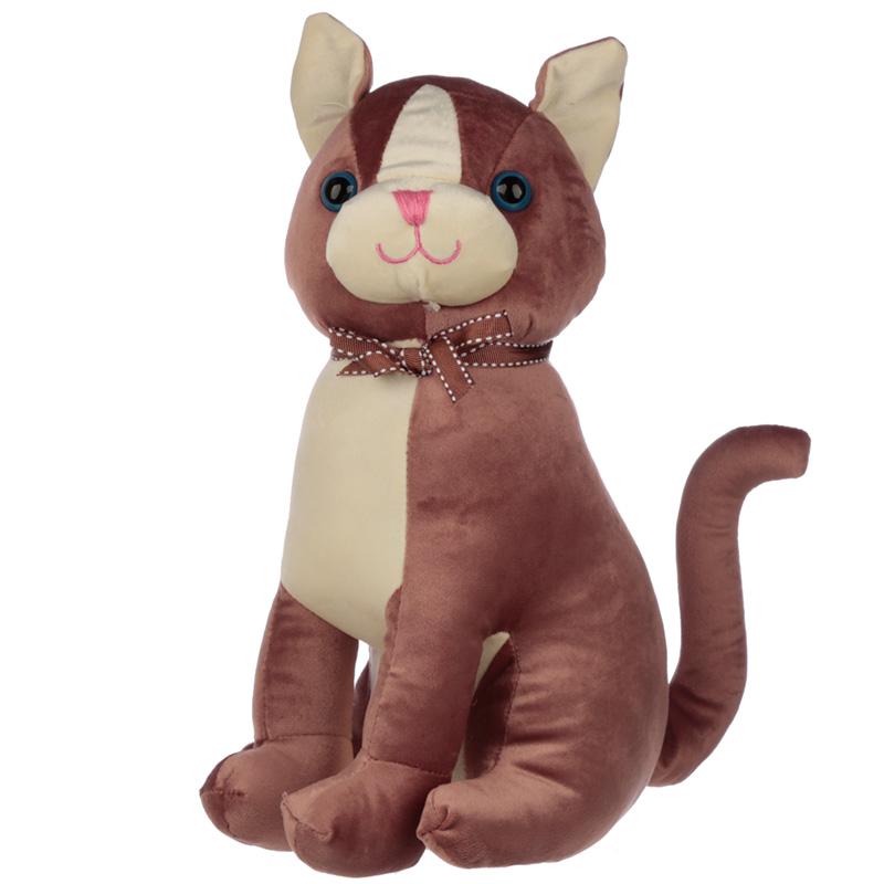 Interior Door Stop Brown Cat with Ribbon