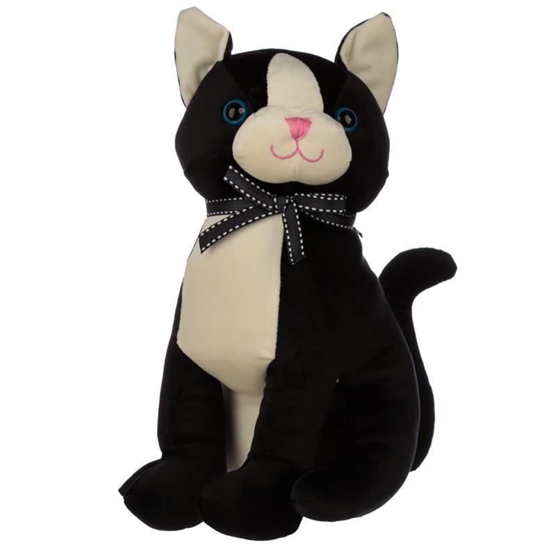 Interior Door Stop Black Cat with Ribbon