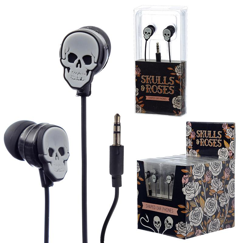 Funky Earphones Skulls and Roses Design