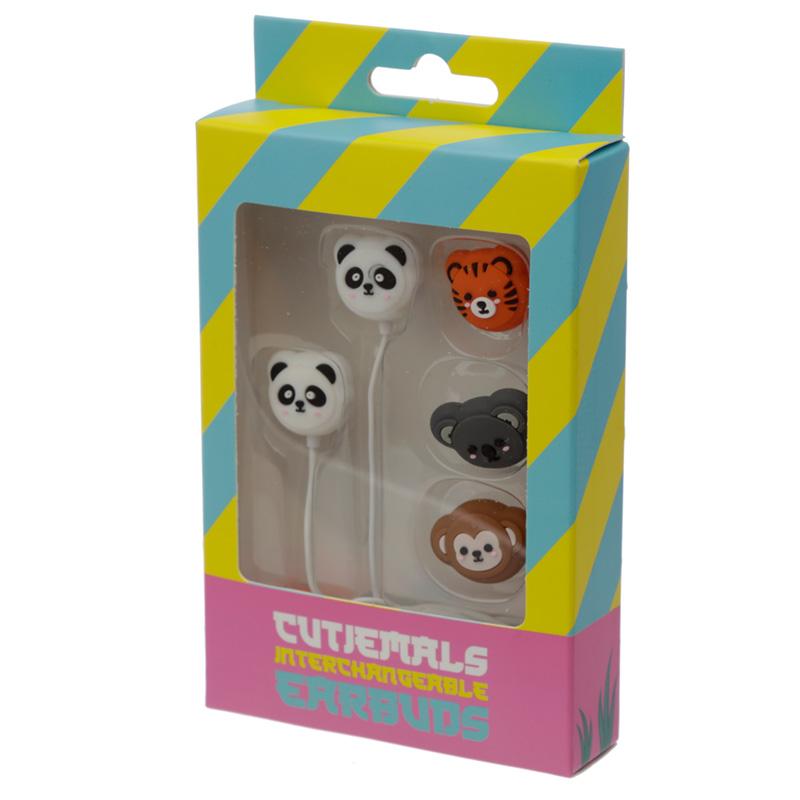 Funky Earphones with 4 Interchangeable Earbuds Cutiemals