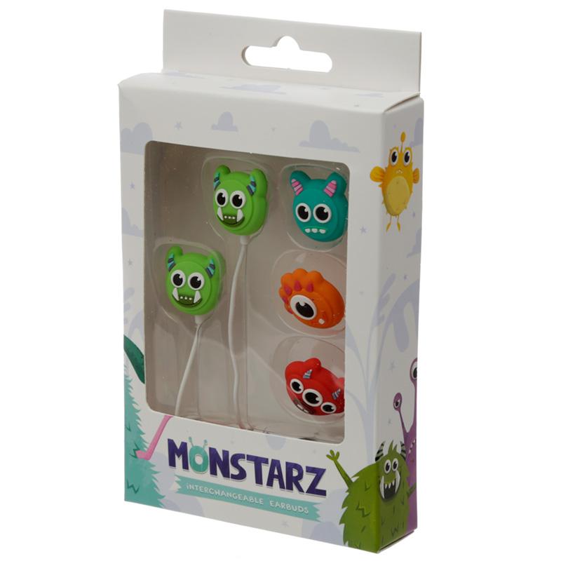Funky Earphones with 4 Interchangeable Earbuds Monster Monstarz