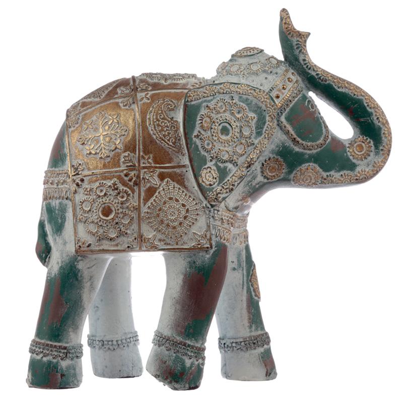 Medium Decorative Turquoise and Gold Elephant