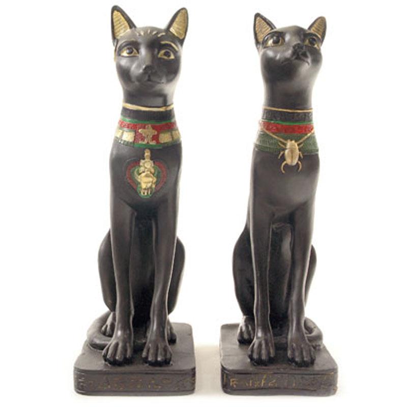Decorative Black Bast Cat Egyptian Figurine