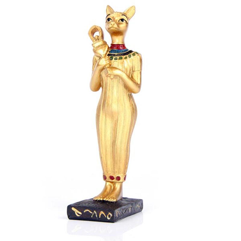 Decorative Gold Standing Bast Egyptian Figurine