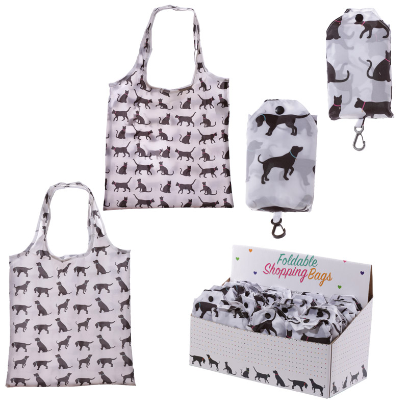 Handy Fold Up Cat  Dog Design Shopping Bag with Holder