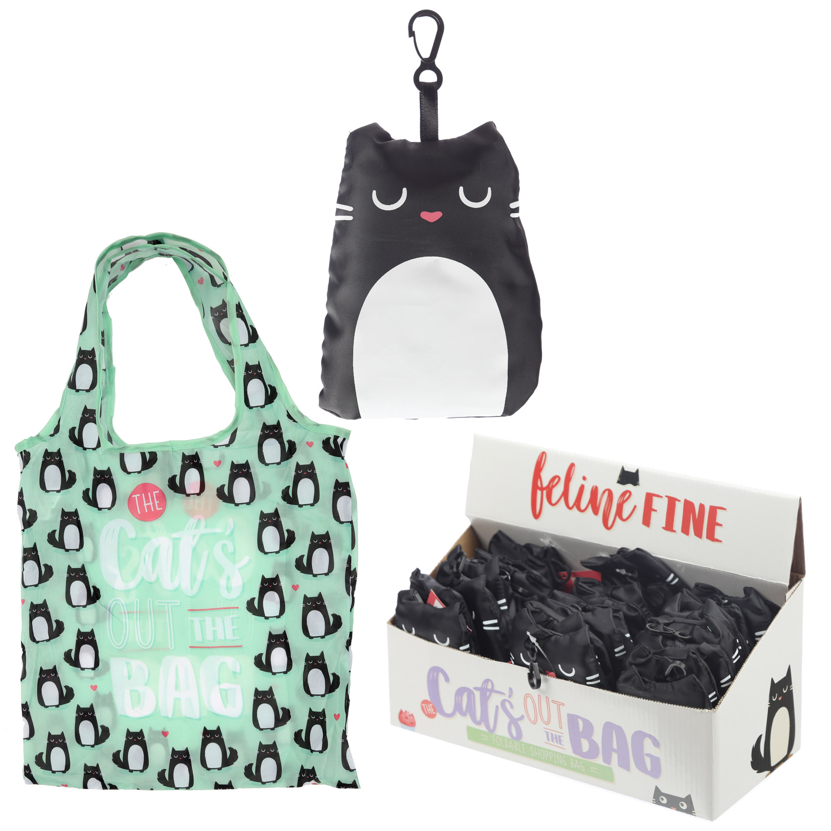 Handy Fold Up Feline Fine Cat Shopping Bag with Holder