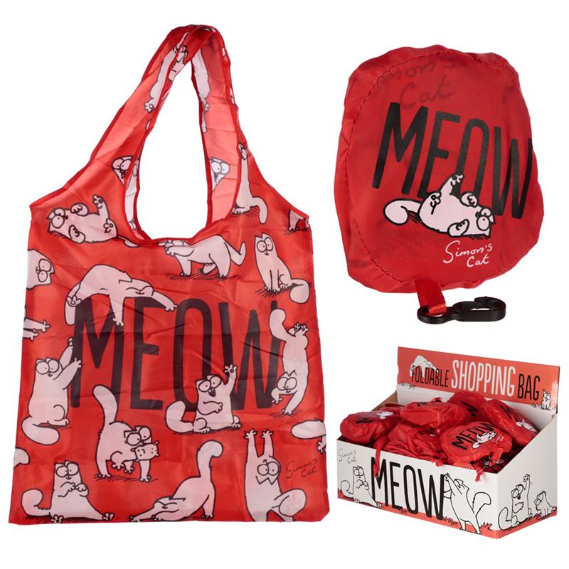 Handy Fold Up Simons Cat Design Shopping Bag with Holder