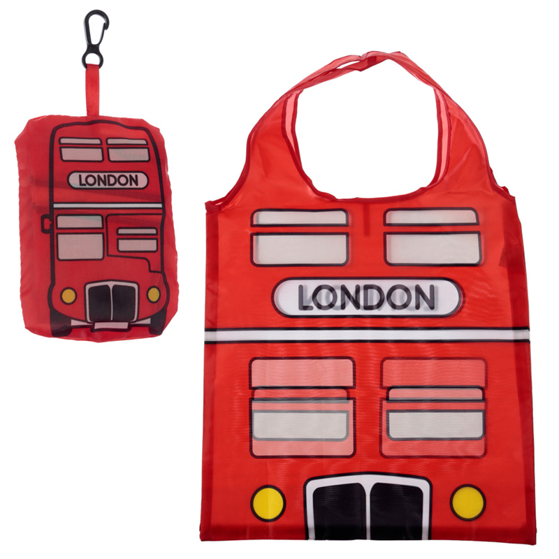 Handy Fold Up London Bus Shopping Bag with Holder