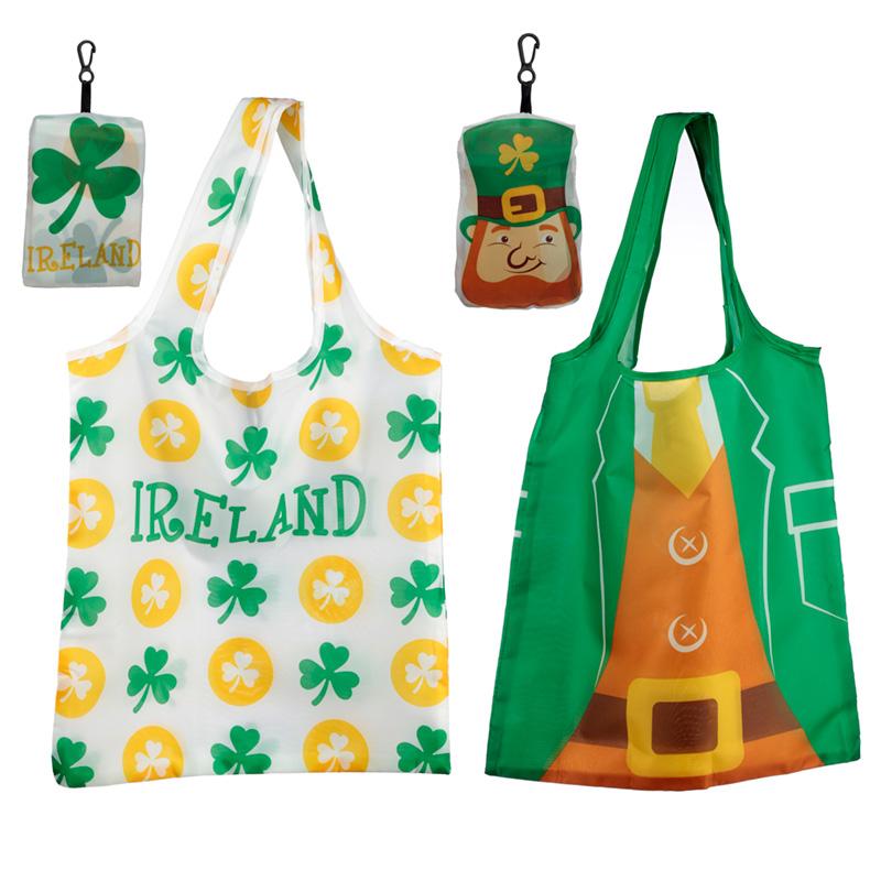 Handy Fold Up Luck of the Irish Leprechaun Ireland Shopping Bag with Holder