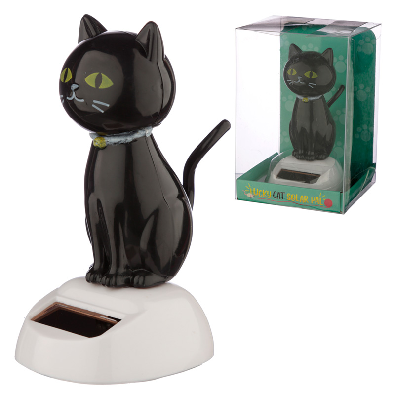 Collectable Lucky Black Cat Solar Powered Pal