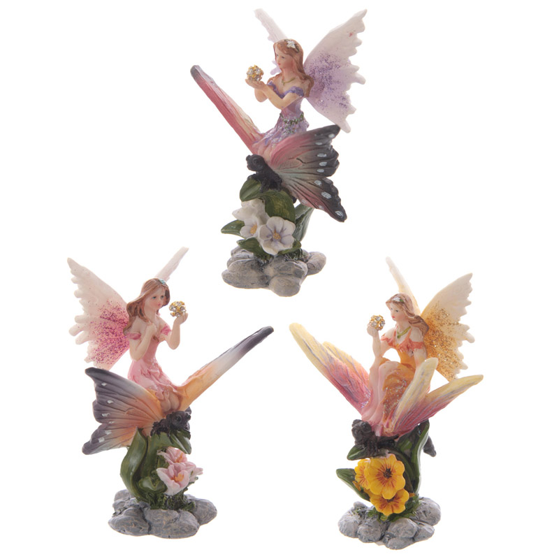 Cute Flower Fairy Riding Butterfly Figurine